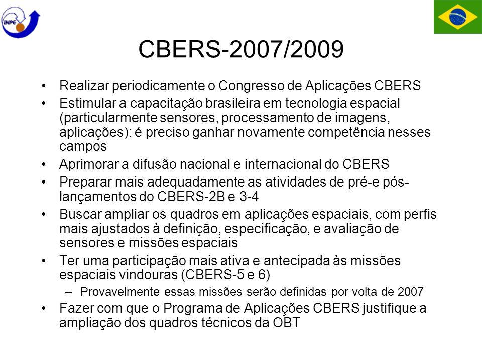 CBERS-2007/2009 Realizar periodicamente o Congresso de Aplicações CBERS Estimular a capacitação brasileira em tecnologia espacial (particularmente sensores, processamento de imagens, aplicações): é preciso ganhar novamente competência nesses campos Aprimorar a difusão nacional e internacional do CBERS Preparar mais adequadamente as atividades de pré-e pós- lançamentos do CBERS-2B e 3-4 Buscar ampliar os quadros em aplicações espaciais, com perfis mais ajustados à definição, especificação, e avaliação de sensores e missões espaciais Ter uma participação mais ativa e antecipada às missões espaciais vindouras (CBERS-5 e 6) –Provavelmente essas missões serão definidas por volta de 2007 Fazer com que o Programa de Aplicações CBERS justifique a ampliação dos quadros técnicos da OBT
