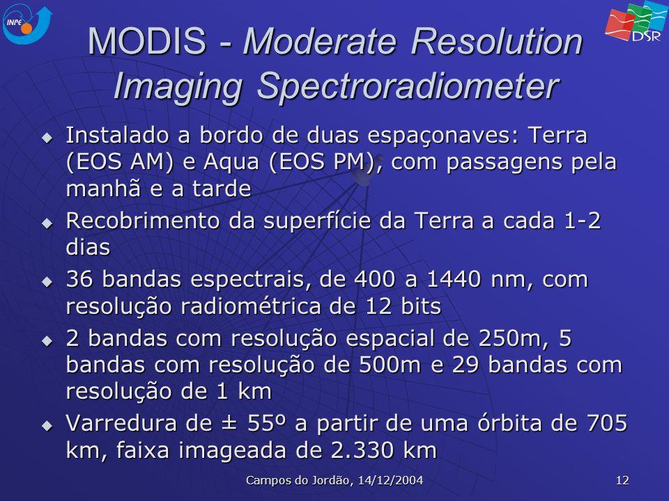 Campos do Jordão, 14/12/2004 12 MODIS - Moderate Resolution Imaging Spectroradiometer Instalado a bordo de duas espaçonaves: Terra (EOS AM) e Aqua (EO
