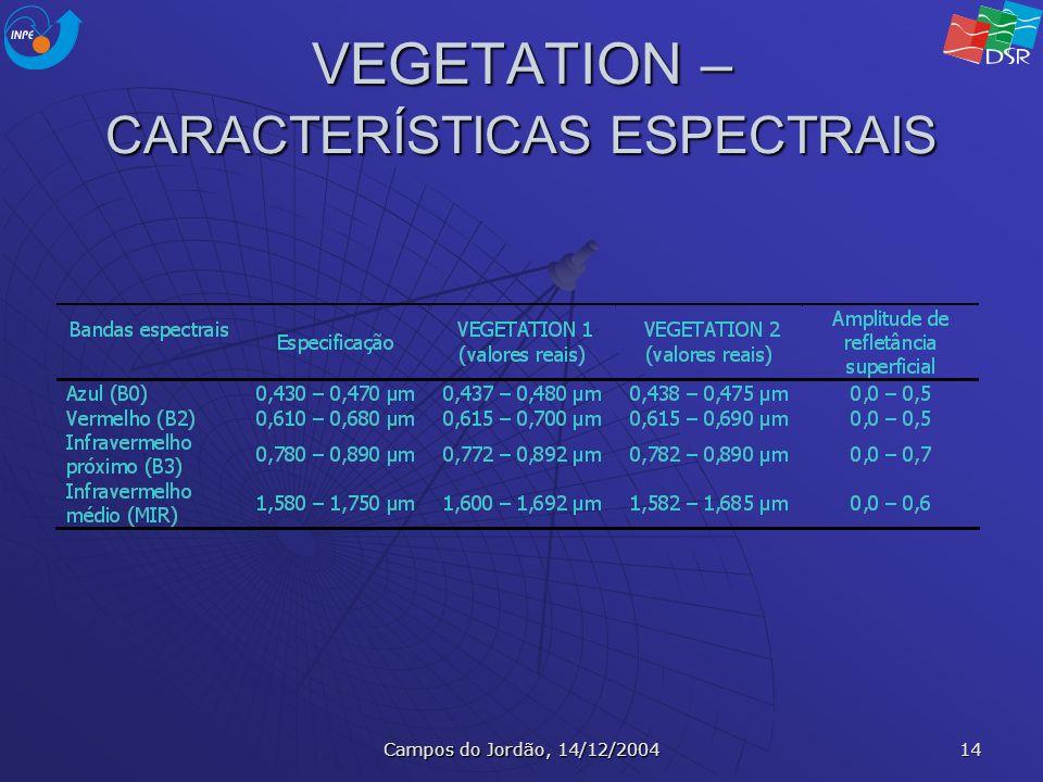 Campos do Jordão, 14/12/2004 14 VEGETATION – CARACTERÍSTICAS ESPECTRAIS
