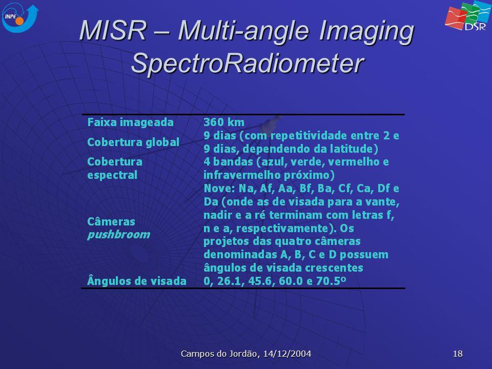 Campos do Jordão, 14/12/2004 18 MISR – Multi-angle Imaging SpectroRadiometer