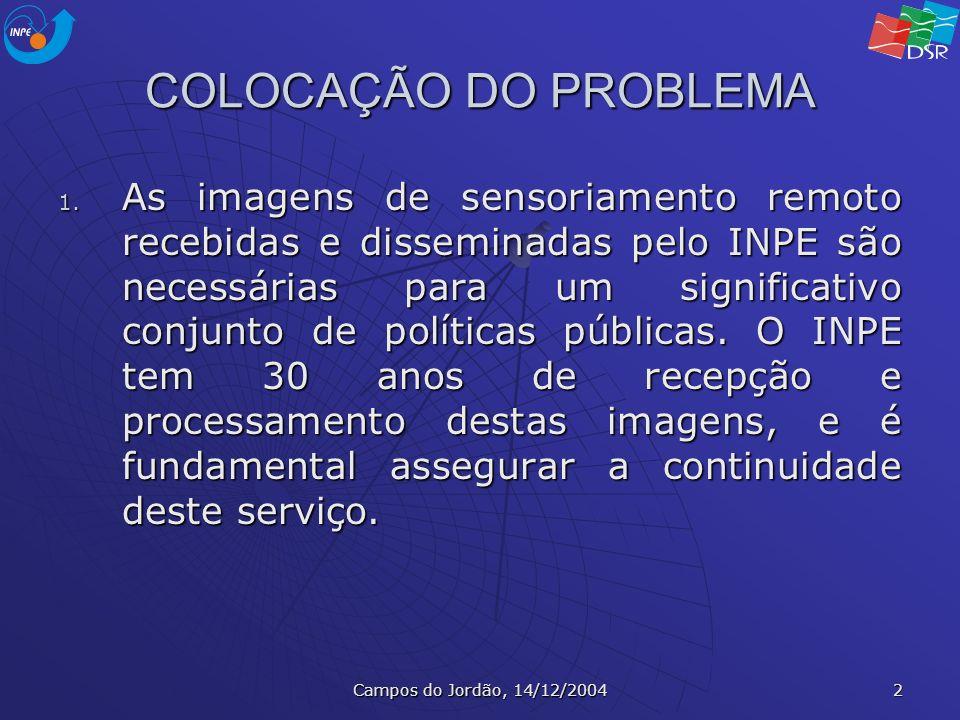 Campos do Jordão, 14/12/2004 2 COLOCAÇÃO DO PROBLEMA 1. As imagens de sensoriamento remoto recebidas e disseminadas pelo INPE são necessárias para um