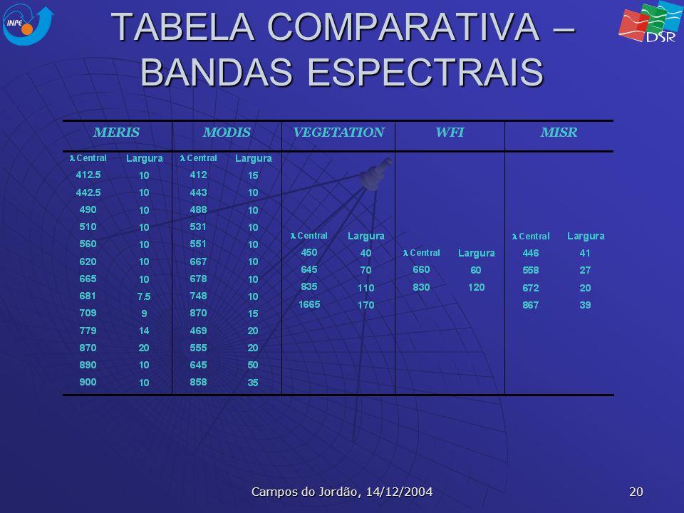Campos do Jordão, 14/12/2004 20 TABELA COMPARATIVA – BANDAS ESPECTRAIS