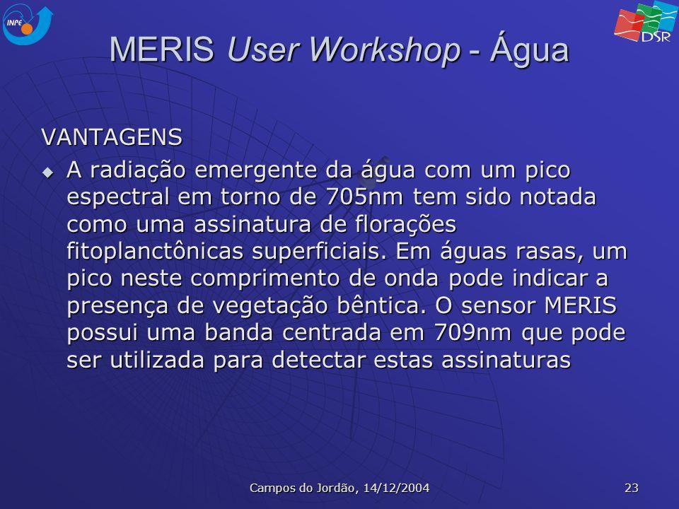 Campos do Jordão, 14/12/2004 23 MERIS User Workshop - Água VANTAGENS A radiação emergente da água com um pico espectral em torno de 705nm tem sido not