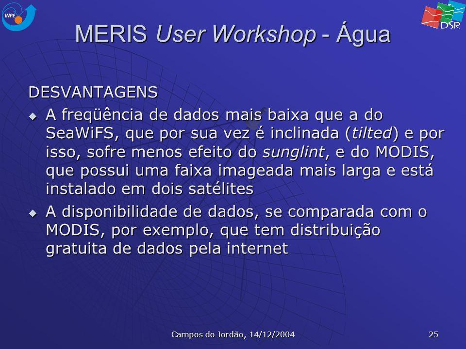 Campos do Jordão, 14/12/2004 25 MERIS User Workshop - Água DESVANTAGENS A freqüência de dados mais baixa que a do SeaWiFS, que por sua vez é inclinada