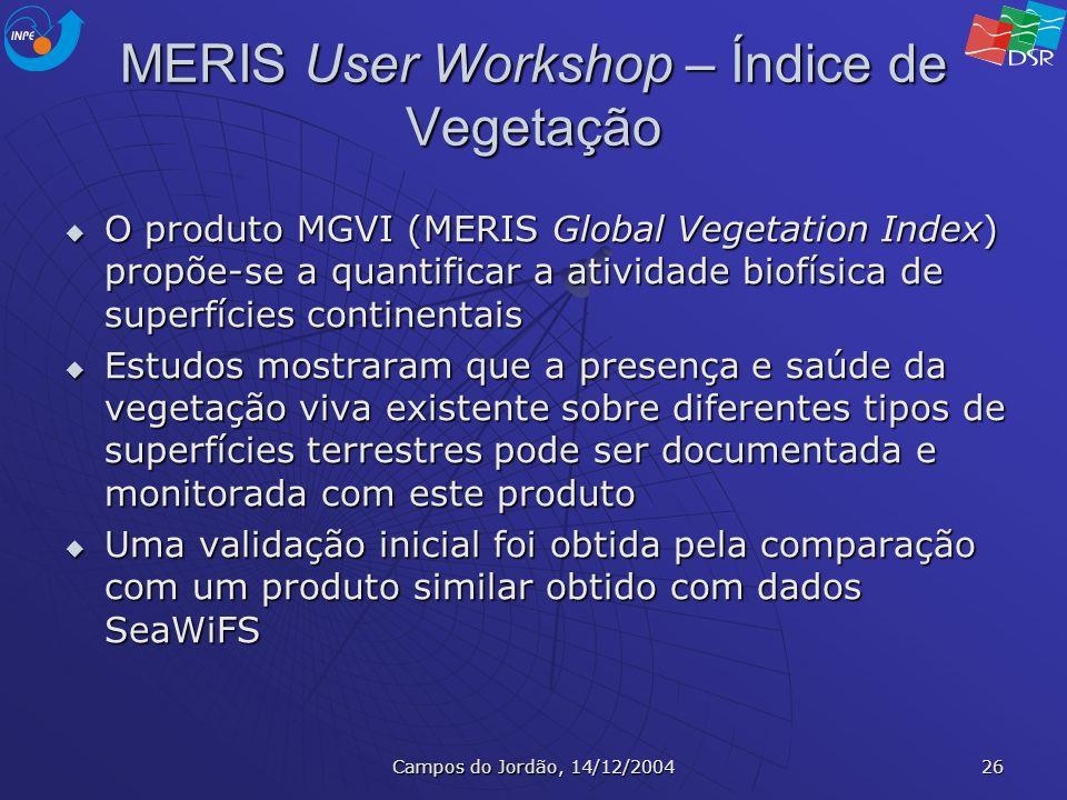 Campos do Jordão, 14/12/2004 26 MERIS User Workshop – Índice de Vegetação O produto MGVI (MERIS Global Vegetation Index) propõe-se a quantificar a ati