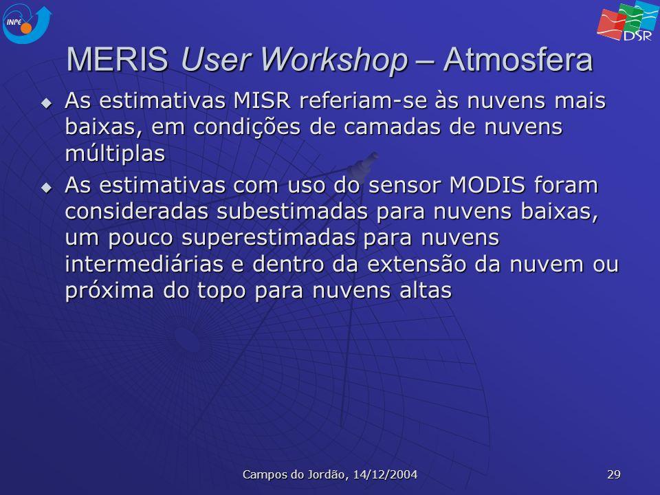 Campos do Jordão, 14/12/2004 29 MERIS User Workshop – Atmosfera As estimativas MISR referiam-se às nuvens mais baixas, em condições de camadas de nuve