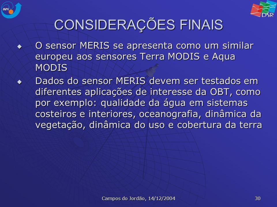 Campos do Jordão, 14/12/2004 30 CONSIDERAÇÕES FINAIS O sensor MERIS se apresenta como um similar europeu aos sensores Terra MODIS e Aqua MODIS O senso