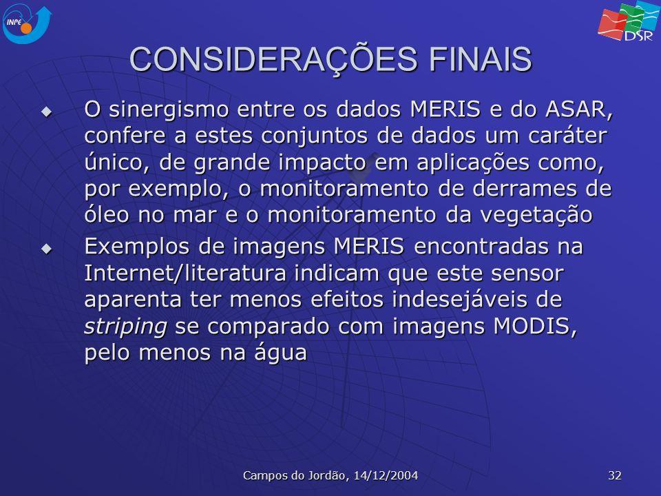 Campos do Jordão, 14/12/2004 32 CONSIDERAÇÕES FINAIS O sinergismo entre os dados MERIS e do ASAR, confere a estes conjuntos de dados um caráter único,
