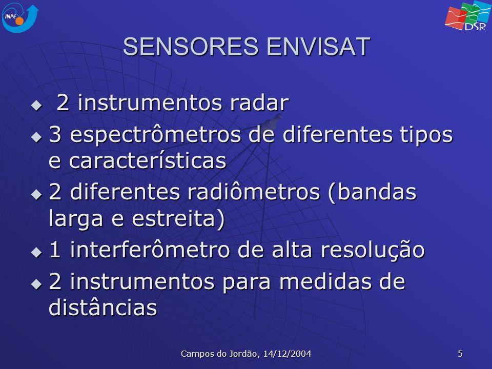 Campos do Jordão, 14/12/2004 5 SENSORES ENVISAT 2 instrumentos radar 2 instrumentos radar 3 espectrômetros de diferentes tipos e características 3 esp