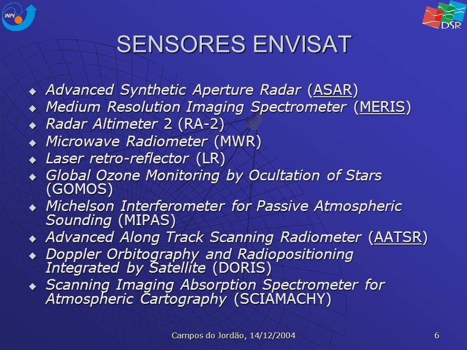 Campos do Jordão, 14/12/2004 17 MISR – Multi-angle Imaging SpectroRadiometer Instalado a bordo do satélite Terra (EOS AM) Instalado a bordo do satélite Terra (EOS AM) Mede a reflectância da Terra em 4 bandas espectrais, simultaneamente em 9 ângulos de visada distribuídos nas direções para a vante a para a ré da trajetória orbital Mede a reflectância da Terra em 4 bandas espectrais, simultaneamente em 9 ângulos de visada distribuídos nas direções para a vante a para a ré da trajetória orbital Amostragens espaciais são adquiridas a cada 275m Amostragens espaciais são adquiridas a cada 275m Em 7 minutos, uma faixa de 360 km de largura é imageada a partir dos 9 ângulos Em 7 minutos, uma faixa de 360 km de largura é imageada a partir dos 9 ângulos