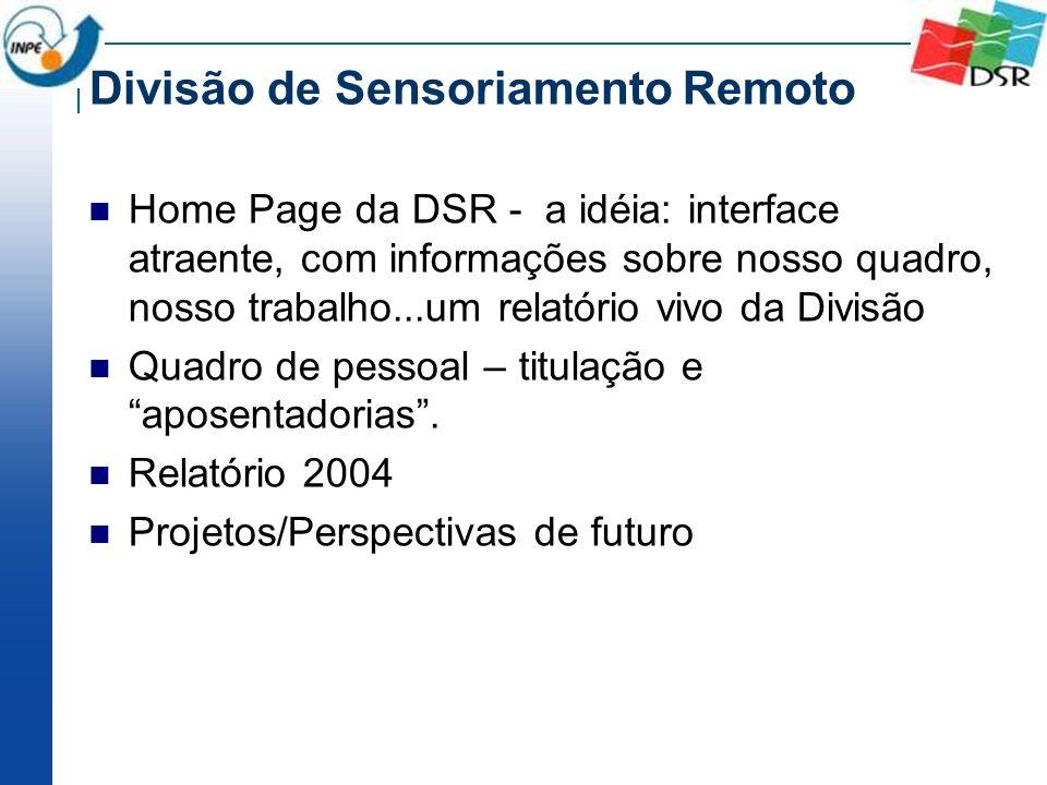 Divisão de Sensoriamento Remoto Home Page da DSR - a idéia: interface atraente, com informações sobre nosso quadro, nosso trabalho...um relatório vivo