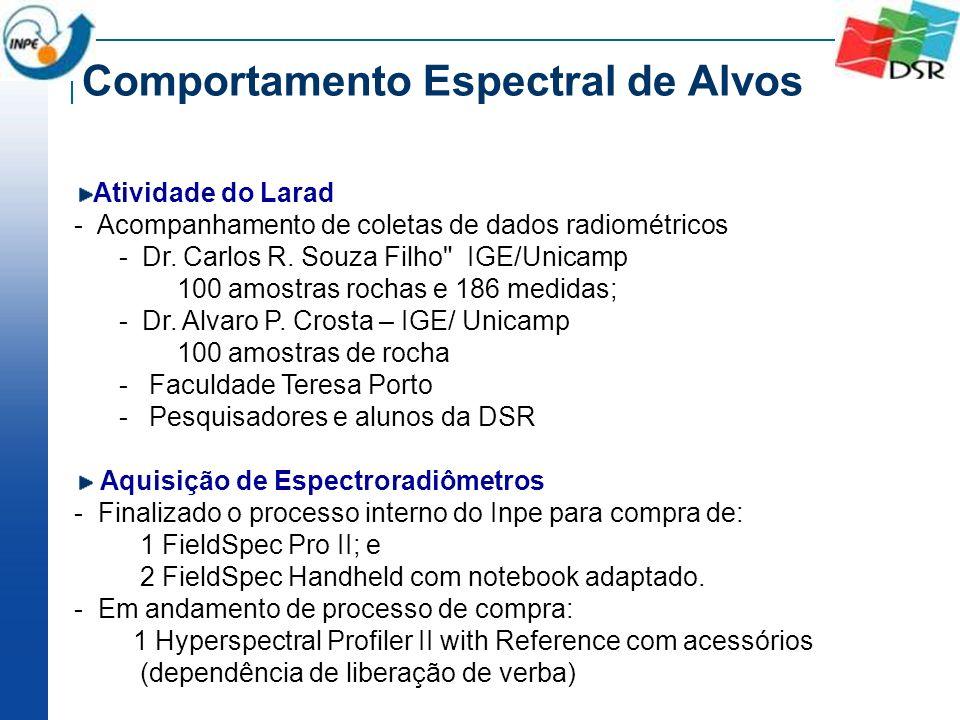 Comportamento Espectral de Alvos Atividade do Larad - Acompanhamento de coletas de dados radiométricos - Dr. Carlos R. Souza Filho