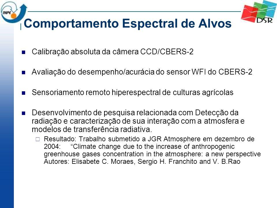 Comportamento Espectral de Alvos Calibração absoluta da câmera CCD/CBERS-2 Avaliação do desempenho/acurácia do sensor WFI do CBERS-2 Sensoriamento rem