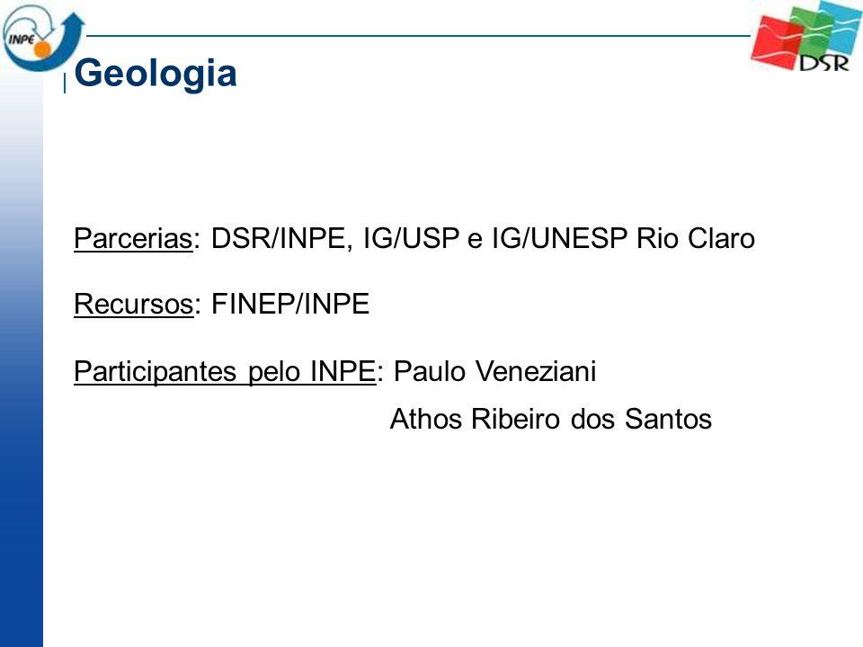 Parcerias: DSR/INPE, IG/USP e IG/UNESP Rio Claro Recursos: FINEP/INPE Participantes pelo INPE: Paulo Veneziani Athos Ribeiro dos Santos Geologia