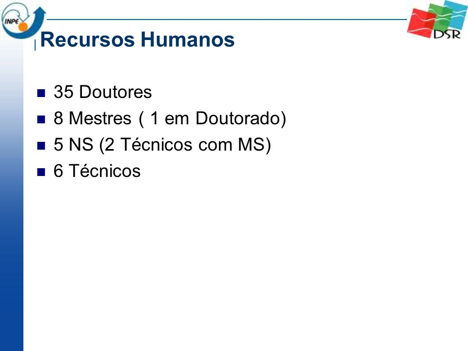 Recursos Humanos 35 Doutores 8 Mestres ( 1 em Doutorado) 5 NS (2 Técnicos com MS) 6 Técnicos
