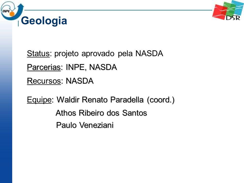 Status: projeto aprovado pela NASDA Parcerias: INPE, NASDA R: NASDA Recursos: NASDA : Waldir Renato Paradella (coord.) Equipe: Waldir Renato Paradella