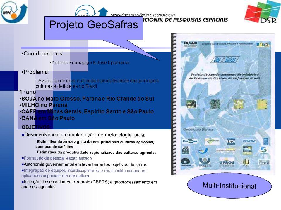 Coordenadores: Antonio Formaggio & José Epiphanio Problema: –Avaliação de área cultivada e produtividade das principais culturas é deficiente no Brasi