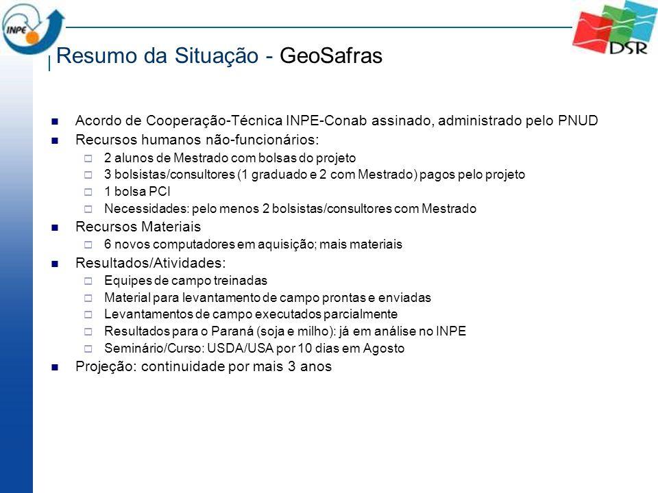 Resumo da Situação - GeoSafras Acordo de Cooperação-Técnica INPE-Conab assinado, administrado pelo PNUD Recursos humanos não-funcionários: 2 alunos de