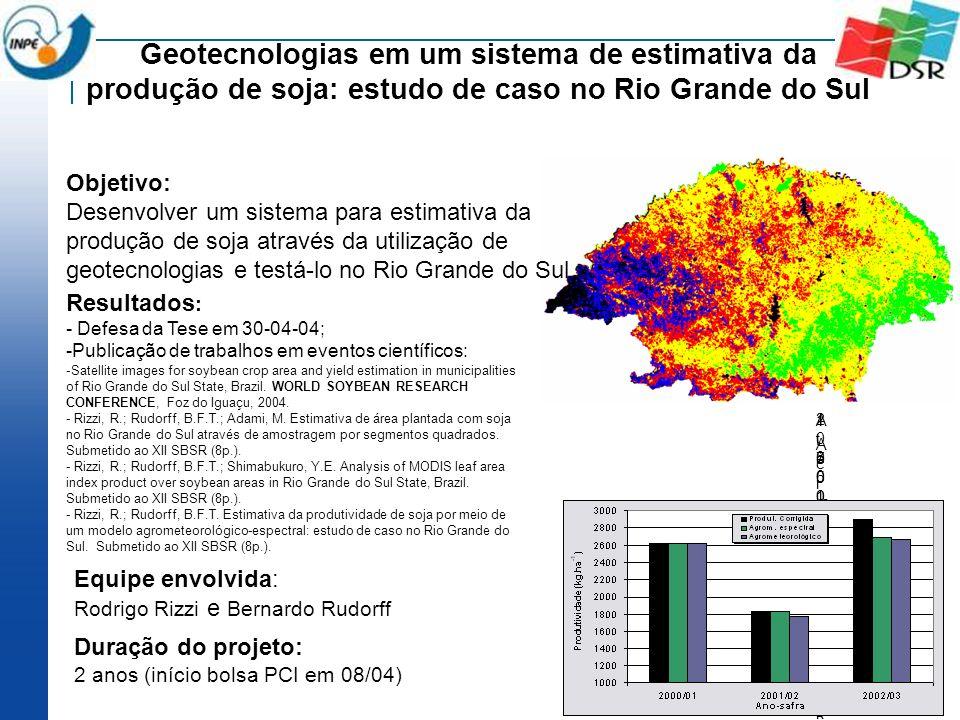 Geotecnologias em um sistema de estimativa da produção de soja: estudo de caso no Rio Grande do Sul Objetivo: Desenvolver um sistema para estimativa d