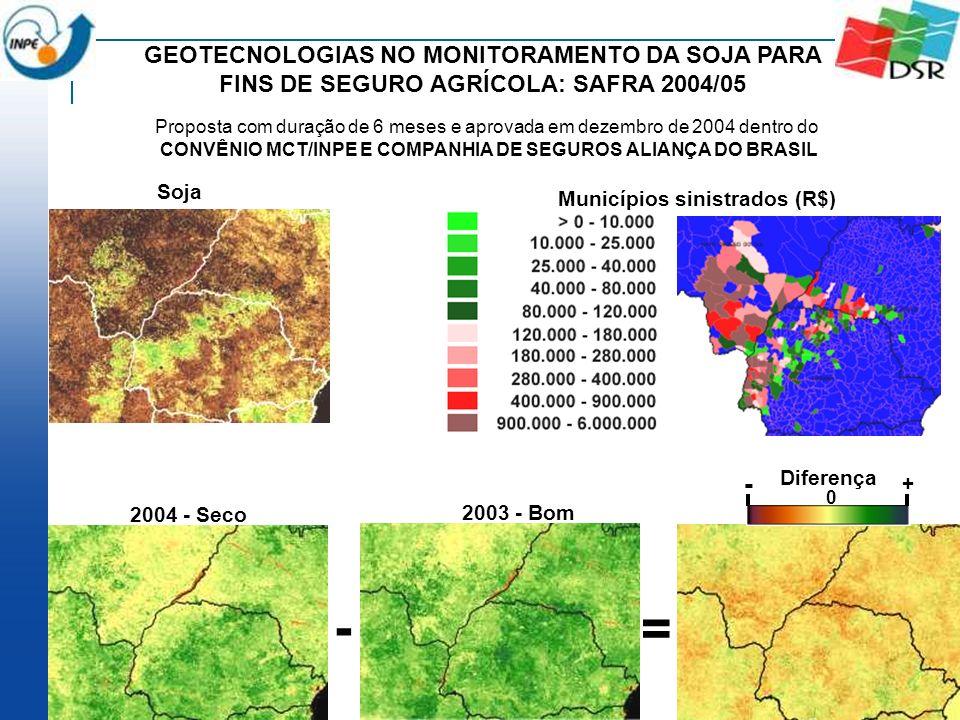 Soja Municípios sinistrados (R$) 0 - + Diferença 2003 - Bom 2004 - Seco - = GEOTECNOLOGIAS NO MONITORAMENTO DA SOJA PARA FINS DE SEGURO AGRÍCOLA: SAFR