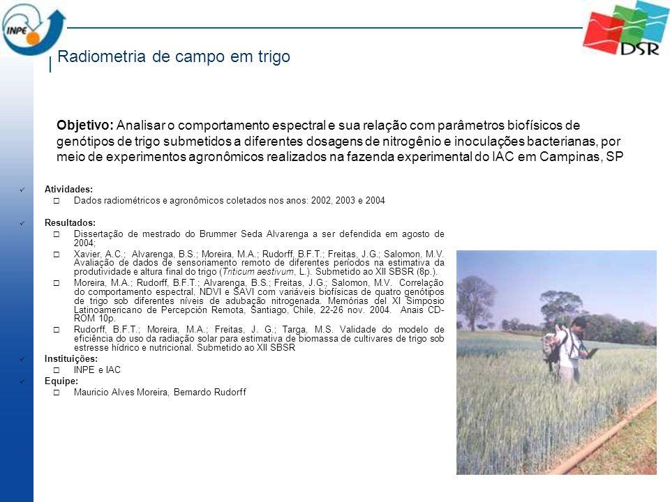 Radiometria de campo em trigo Atividades: Dados radiométricos e agronômicos coletados nos anos: 2002, 2003 e 2004 Resultados: Dissertação de mestrado