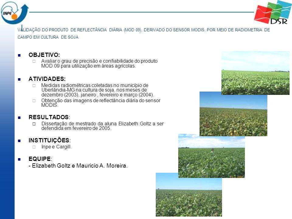 VALIDAÇÃO DO PRODUTO DE REFLECTÂNCIA DIÁRIA (MOD 09), DERIVADO DO SENSOR MODIS, POR MEIO DE RADIOMETRIA DE CAMPO EM CULTURA DE SOJA OBJETIVO: Avaliar