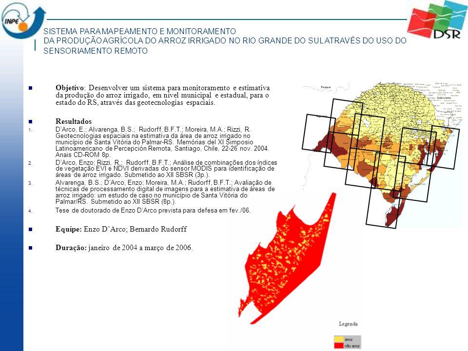 SISTEMA PARA MAPEAMENTO E MONITORAMENTO DA PRODUÇÃO AGRÍCOLA DO ARROZ IRRIGADO NO RIO GRANDE DO SUL ATRAVÉS DO USO DO SENSORIAMENTO REMOTO Objetivo: D