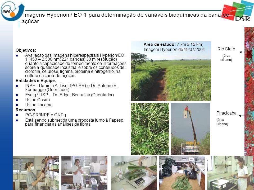 Imagens Hyperion / EO-1 para determinação de variáveis bioquímicas da cana-de- açúcar Objetivos: Avaliação das imagens hiperespectrais Hyperion/EO- 1