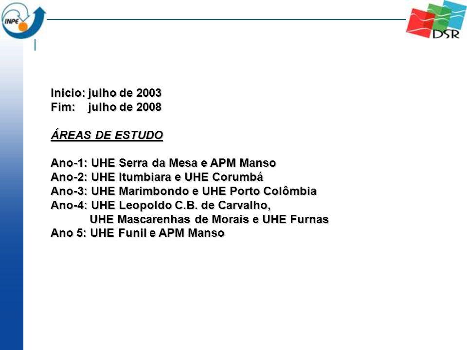 Inicio: julho de 2003 Fim: julho de 2008 ÁREAS DE ESTUDO Ano-1: UHE Serra da Mesa e APM Manso Ano-2: UHE Itumbiara e UHE Corumbá Ano-3: UHE Marimbondo