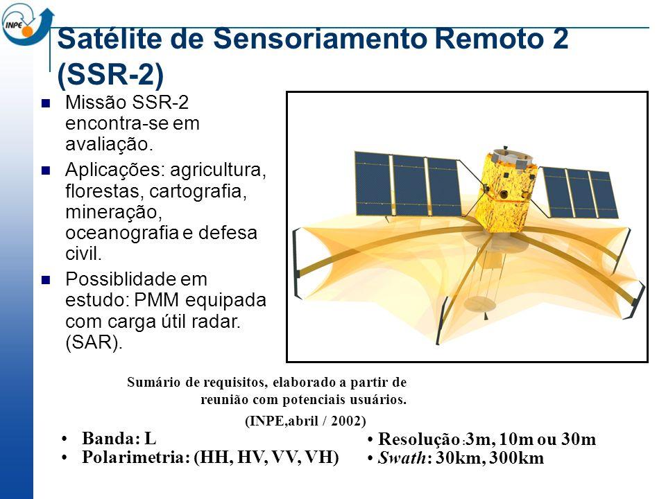 Satélite de Sensoriamento Remoto 2 (SSR-2) Missão SSR-2 encontra-se em avaliação. Aplicações: agricultura, florestas, cartografia, mineração, oceanogr