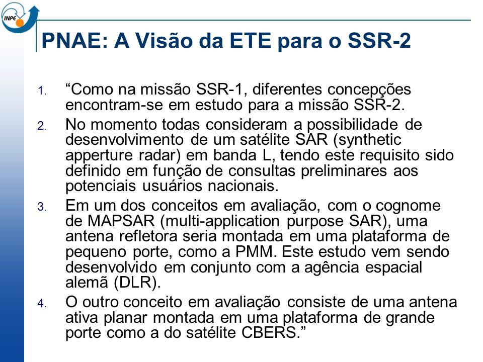 PNAE: A Visão da ETE para o SSR-2 Como na missão SSR-1, diferentes concepções encontram-se em estudo para a missão SSR-2. No momento todas consideram