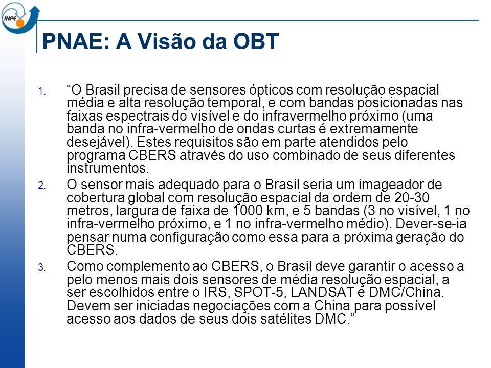 PNAE: A Visão da OBT O Brasil precisa de sensores ópticos com resolução espacial média e alta resolução temporal, e com bandas posicionadas nas faixas