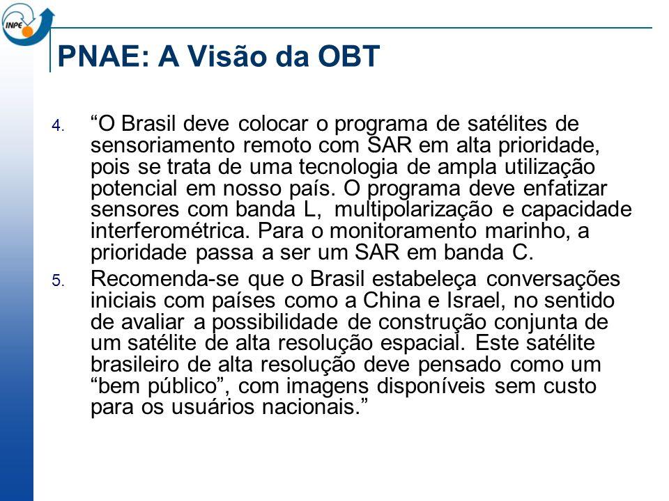 PNAE: A Visão da OBT O Brasil deve colocar o programa de satélites de sensoriamento remoto com SAR em alta prioridade, pois se trata de uma tecnologia