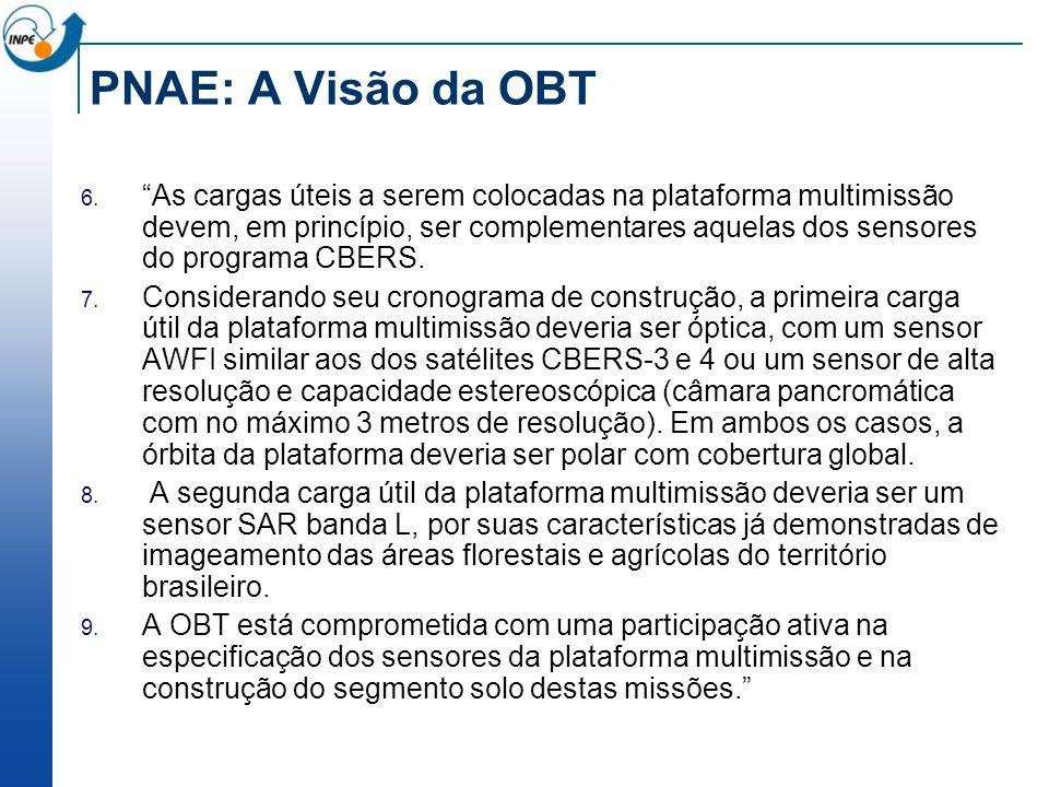 PNAE: A Visão da OBT As cargas úteis a serem colocadas na plataforma multimissão devem, em princípio, ser complementares aquelas dos sensores do progr