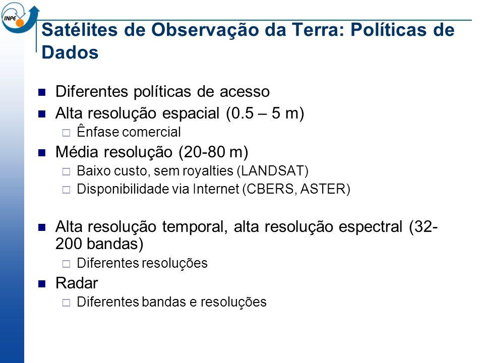 Satélites de Observação da Terra: Políticas de Dados Diferentes políticas de acesso Alta resolução espacial (0.5 – 5 m) Ênfase comercial Média resoluç