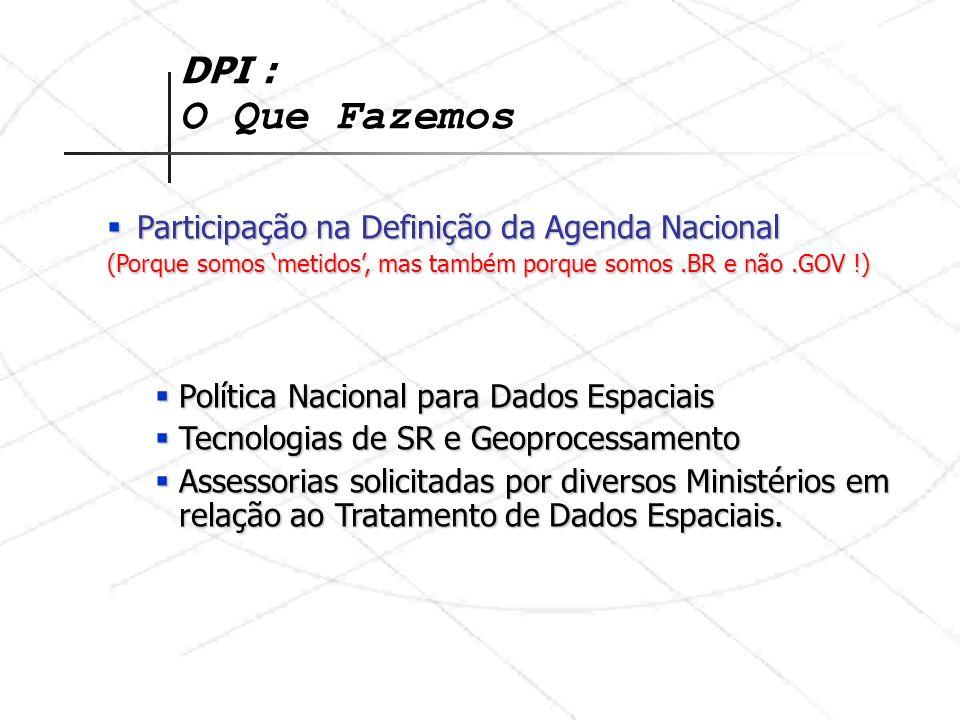 DPI : O Que Fazemos Participação na Definição da Agenda Nacional Participação na Definição da Agenda Nacional (Porque somos metidos, mas também porque