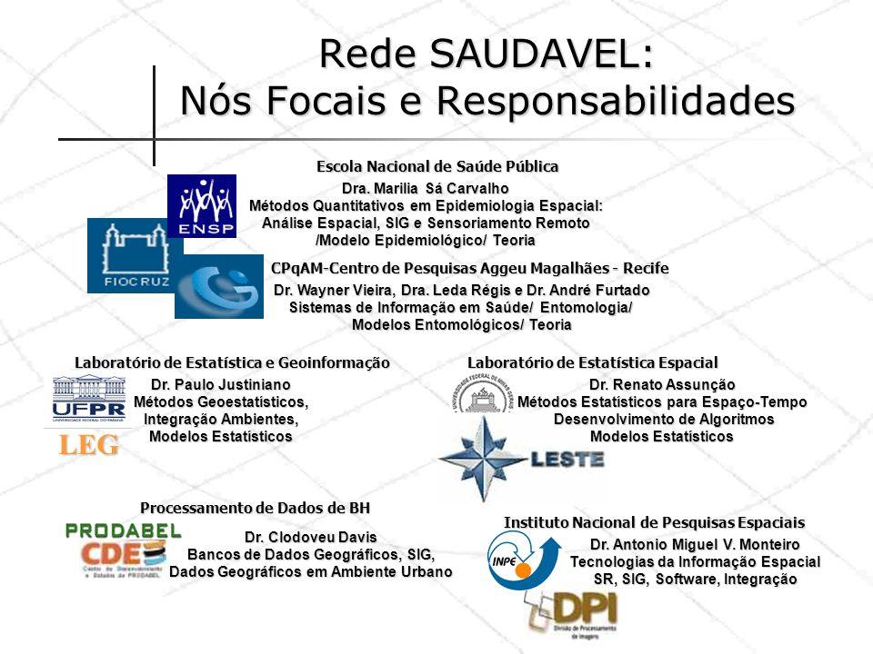 Rede SAUDAVEL: Nós Focais e Responsabilidades Dra. Marilia Sá Carvalho Métodos Quantitativos em Epidemiologia Espacial: Análise Espacial, SIG e Sensor
