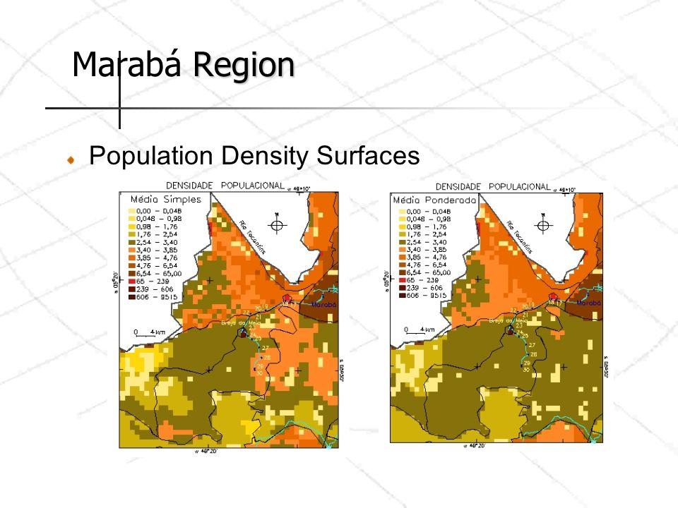 Region Marabá Region Population Density Surfaces