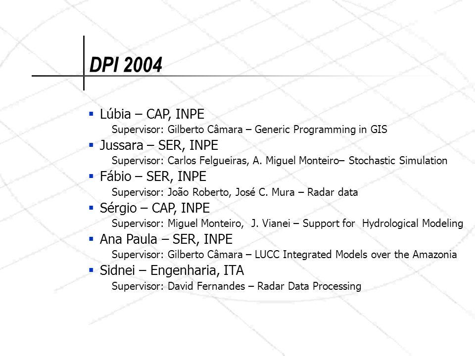 Lúbia – CAP, INPE Supervisor: Gilberto Câmara – Generic Programming in GIS Jussara – SER, INPE Supervisor: Carlos Felgueiras, A. Miguel Monteiro– Stoc