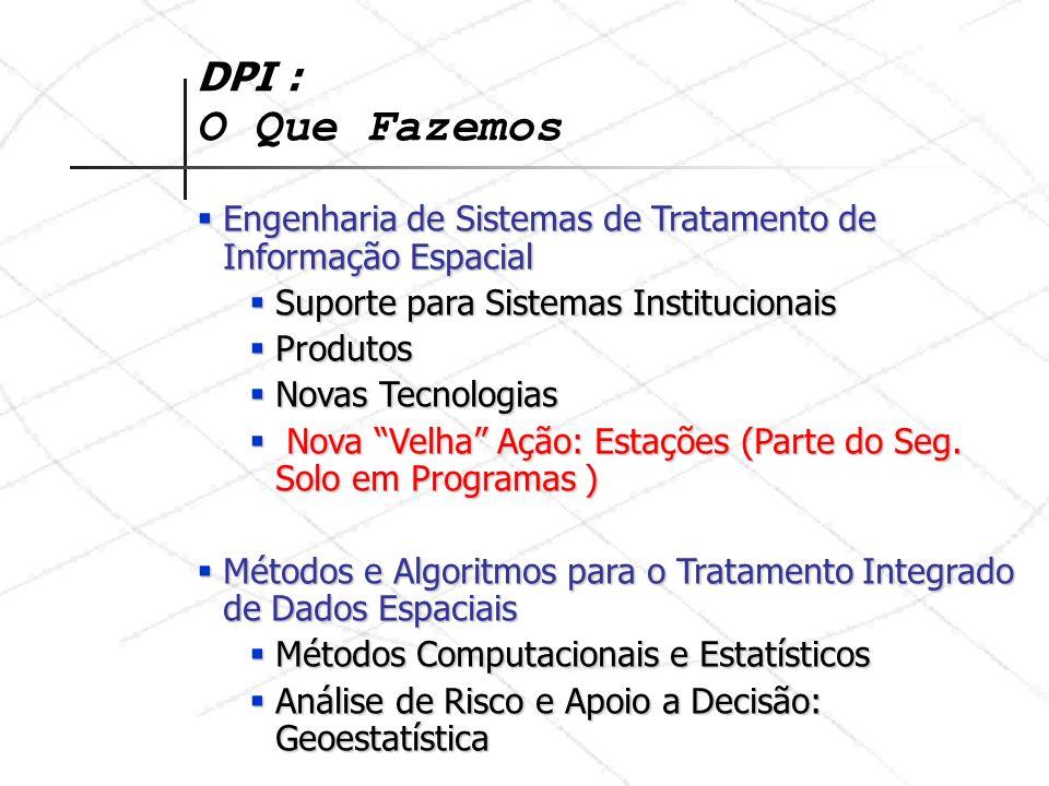 DPI : O Que Fazemos Modelagem de Processos Espaço-Temporais em Ambiente Computacional: Software e Modelos Modelagem de Processos Espaço-Temporais em Ambiente Computacional: Software e Modelos Amazônia Amazônia GEOMA GEOMA Saúde Pública Saúde Pública SAUDAVEL SAUDAVEL EUREQA EUREQA Estudos Urbanos Estudos Urbanos CEDEST CEDEST Prefeituras (FUCATE) Prefeituras (FUCATE) Ministério das Cidades Ministério das Cidades BNDES BNDES
