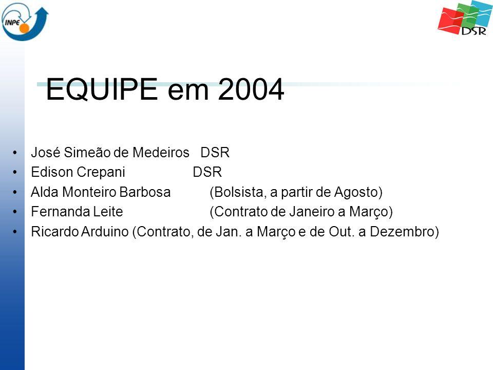 EQUIPE em 2004 José Simeão de Medeiros DSR Edison Crepani DSR Alda Monteiro Barbosa(Bolsista, a partir de Agosto) Fernanda Leite(Contrato de Janeiro a Março) Ricardo Arduino (Contrato, de Jan.