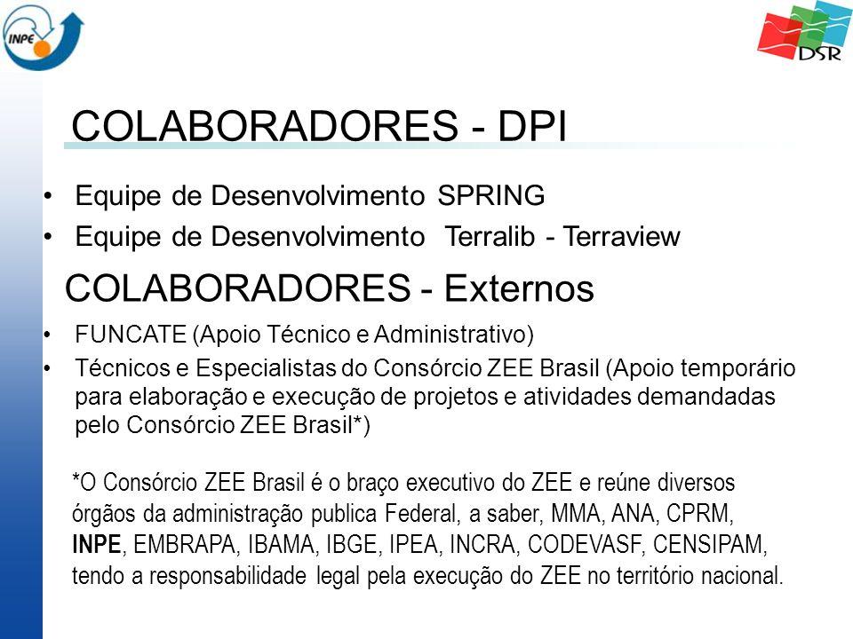 COLABORADORES - DPI Equipe de Desenvolvimento SPRING Equipe de Desenvolvimento Terralib - Terraview COLABORADORES - Externos FUNCATE (Apoio Técnico e Administrativo) Técnicos e Especialistas do Consórcio ZEE Brasil (Apoio temporário para elaboração e execução de projetos e atividades demandadas pelo Consórcio ZEE Brasil*) *O Consórcio ZEE Brasil é o braço executivo do ZEE e reúne diversos órgãos da administração publica Federal, a saber, MMA, ANA, CPRM, INPE, EMBRAPA, IBAMA, IBGE, IPEA, INCRA, CODEVASF, CENSIPAM, tendo a responsabilidade legal pela execução do ZEE no território nacional.