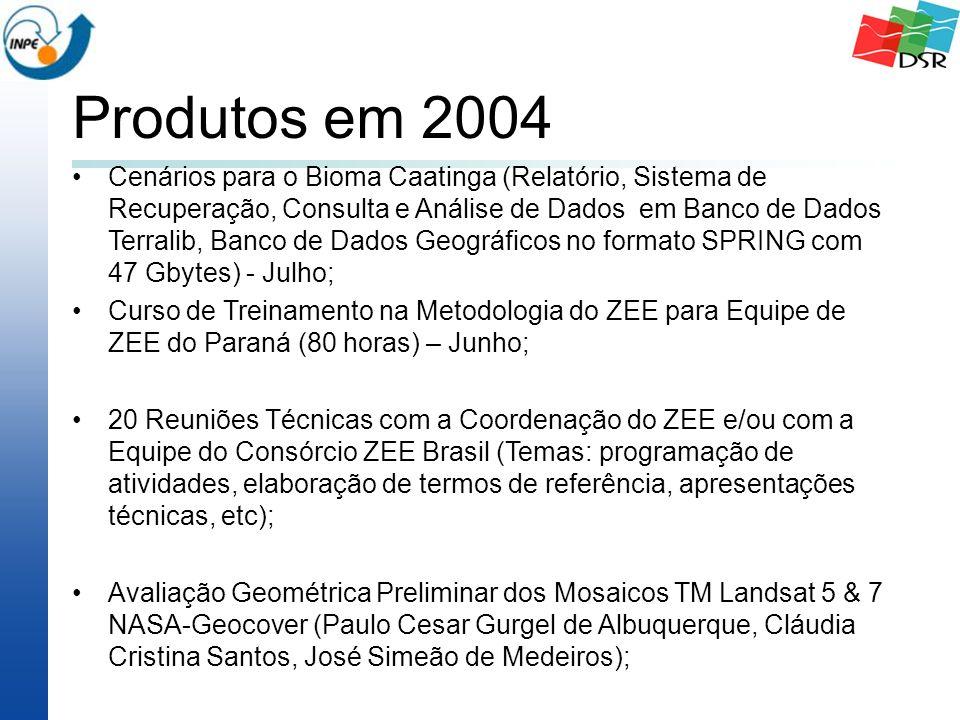 Produtos em 2004 Cenários para o Bioma Caatinga (Relatório, Sistema de Recuperação, Consulta e Análise de Dados em Banco de Dados Terralib, Banco de Dados Geográficos no formato SPRING com 47 Gbytes) - Julho; Curso de Treinamento na Metodologia do ZEE para Equipe de ZEE do Paraná (80 horas) – Junho; 20 Reuniões Técnicas com a Coordenação do ZEE e/ou com a Equipe do Consórcio ZEE Brasil (Temas: programação de atividades, elaboração de termos de referência, apresentações técnicas, etc); Avaliação Geométrica Preliminar dos Mosaicos TM Landsat 5 & 7 NASA-Geocover (Paulo Cesar Gurgel de Albuquerque, Cláudia Cristina Santos, José Simeão de Medeiros);