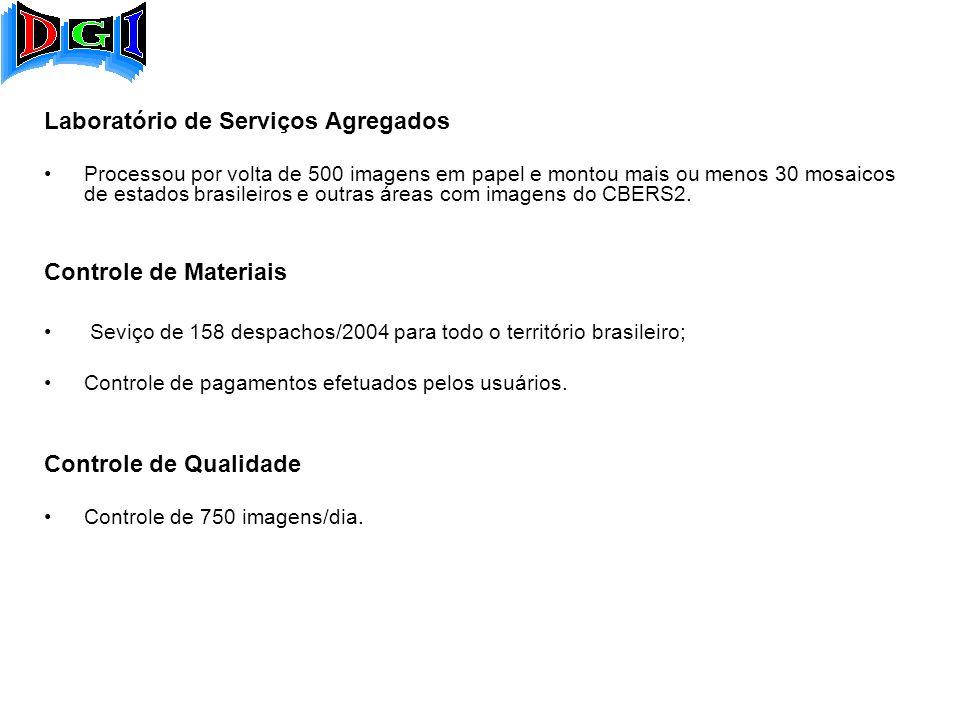 Laboratório de Serviços Agregados Processou por volta de 500 imagens em papel e montou mais ou menos 30 mosaicos de estados brasileiros e outras áreas com imagens do CBERS2.