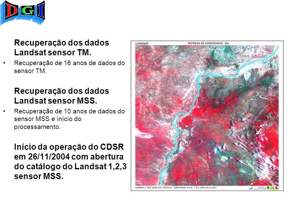 Recuperação dos dados Landsat sensor TM. Recuperação de 16 anos de dados do sensor TM.