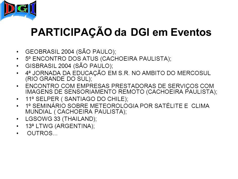 PARTICIPAÇÃO da DGI em Eventos GEOBRASIL 2004 (SÃO PAULO); 5º ENCONTRO DOS ATUS (CACHOEIRA PAULISTA); GISBRASIL 2004 (SÃO PAULO); 4ª JORNADA DA EDUCAÇÃO EM S.R.