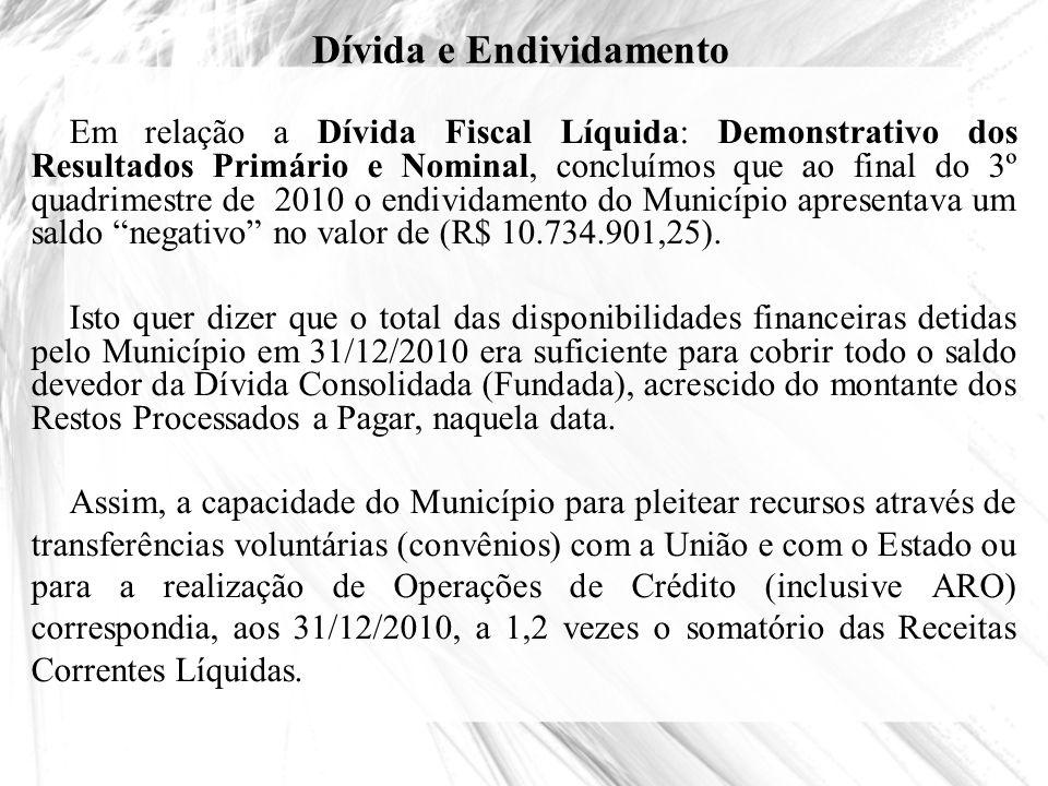 Dívida e Endividamento Em relação a Dívida Fiscal Líquida: Demonstrativo dos Resultados Primário e Nominal, concluímos que ao final do 3º quadrimestre
