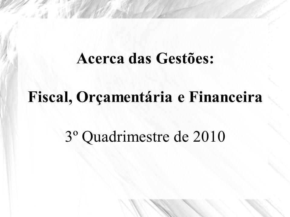 Acerca das Gestões: Fiscal, Orçamentária e Financeira 3º Quadrimestre de 2010