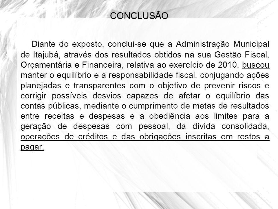CONCLUSÃO Diante do exposto, conclui-se que a Administração Municipal de Itajubá, através dos resultados obtidos na sua Gestão Fiscal, Orçamentária e