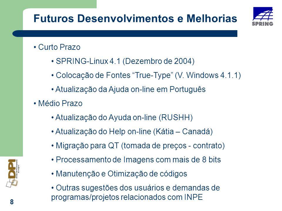 8 Futuros Desenvolvimentos e Melhorias Curto Prazo SPRING-Linux 4.1 (Dezembro de 2004) Colocação de Fontes True-Type (V.
